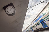 Clock on railway station — 图库照片