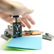 Stapling sheets of paper — Stock Photo