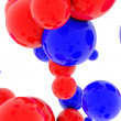 3d blue spheres and red glossy — Stock Photo