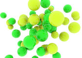 3d Yellow spheres and green glossy — Stock Photo