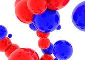 3d esferas azuis e vermelho brilhante — Foto Stock
