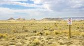 Military Zone in the desert The Bardenas Reales in Navarre — Stock Photo