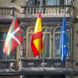 Flags of Euskadi, Spain and European Union — Stock Photo