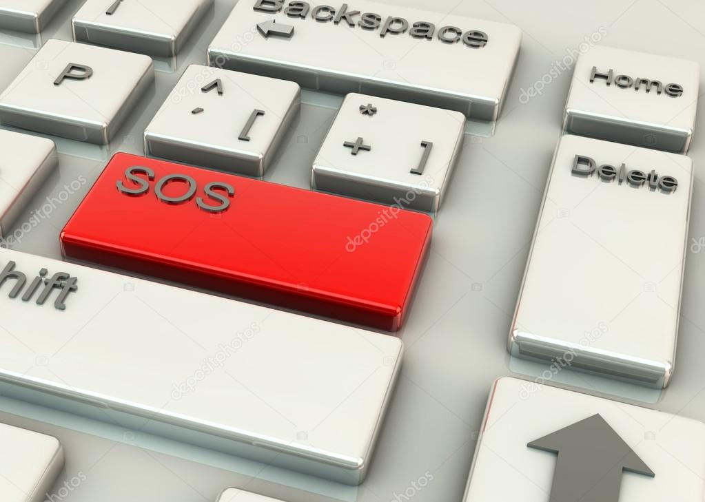 Computer keys with the word SOS on a red highlighting key — Stock Photo #16024935