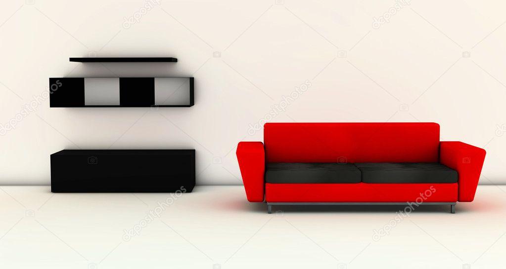 3D soggiorno con divano rosso — Foto Stock © Changered ...