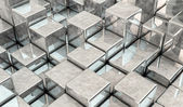 Metal cubes in 3d — Stock Photo