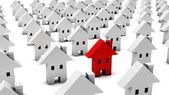 3d molte case bianche uno è rosso — Foto Stock