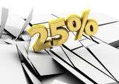 3d 25 percent in gold — Stock Photo