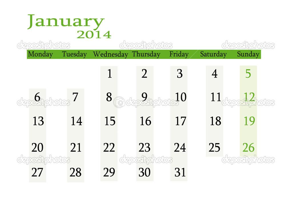 Ocak 2015 Takvim Ocak 2014 — Stok Vektör © Changered #