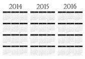 Calendar 2014-2015-2016 — Stock Vector
