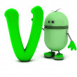 V green sign with robot — Stock Photo