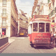 Classic red tram of Lisbon, Portugal — Stock Photo