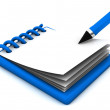 Notepad and pen in 3d — Stockfoto
