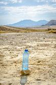 Bottle of water in desert — Stock Photo