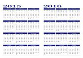 Calendar 2015 and 2016 — Vettoriale Stock