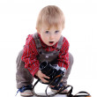 Cute boy with old camera — Stock Photo