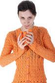 Young beautiful girl eating carrots — Stock Photo