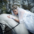 The bride astride on the white horse — Stock Photo