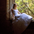 The bride sits on a window sill of an old window — Stok fotoğraf