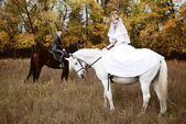 Newly-married couple astride dark and white horses — Stock Photo
