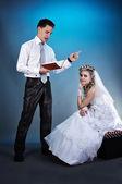 夫妇在结婚那天 — 图库照片