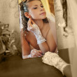 Stock Photo: Bride reflecting in mirror