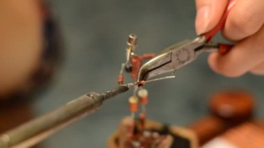 Soldering electronic components — Video Stock