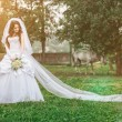 Beautiful bride outdoors — Stock fotografie