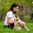 Beautiful Student in the park. Near tree. — Stock Photo #30640989