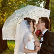Wedding couple kissing — Stock Photo