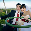 Bride and Groom on a Ferris Wheel — Stock Photo