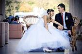 Bride and groom on their wedding celebration — Stock Photo