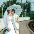 Newly merried couple on railway — Foto Stock