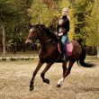 Beautiful girl riding a horse on autumn field — Stock Photo