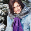 Smilling pretty girl in winter park — Stock fotografie #40637305