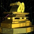"Golden sign ""20 years"" (on german) with fireworks — Stock Video"