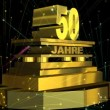 "Стоковое видео: Golden sign ""50 years"" (on german) with fireworks"