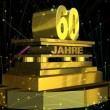 "Стоковое видео: Golden sign ""60 years"" (on german) with fireworks"