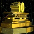 "Stock Video: Golden sign ""10 jubilee"" with fireworks"