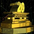 "Stock Video: Golden sign ""20 jubilee"" with fireworks"