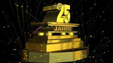 """Gouden teken """"25 years"""" (op duits) met vuurwerk — Stockvideo"""