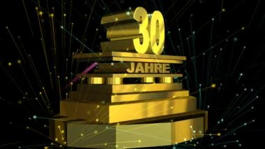 "Golden sign ""30 years"" (on german) with fireworks — Stock Video"