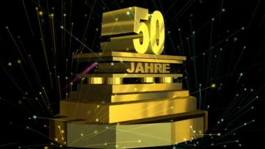 """Golden sign """"50 years"""" (on german) with fireworks — Stock Video"""