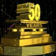 "Стоковое видео: Golden sign ""50 years"" with fireworks"