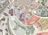 Kaleidoscopic Banknotes Collage — Stock Photo