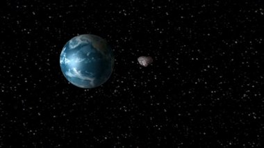 Asteroid encountering Earth — Stock Video