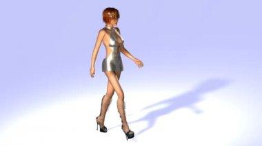 Walking Model Animation — Stock Video