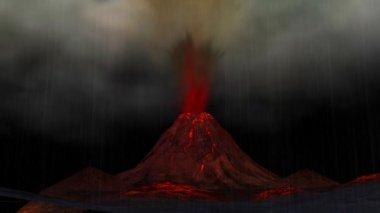 Volcano Animation — Stock Video