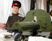 "Machine gun ""Maxim"" and mannequin Don Cossack — Stock Photo"