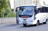 "Express bus ""Kemer-Antalya"" in the village Tekirova, Turkey — Stock Photo"